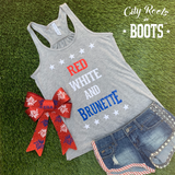 RED WHITE AND BRUNETTE Women's Tank