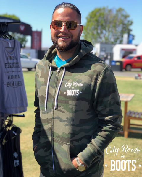 """City Roots in Boots"" Unisex Camo Logo Zip Up Hoodie"