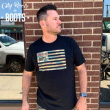 City Roots in Boots Camo Flag Tee
