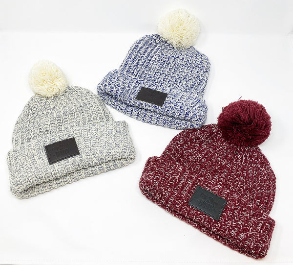 Pom Pom Leather Patch Beanie