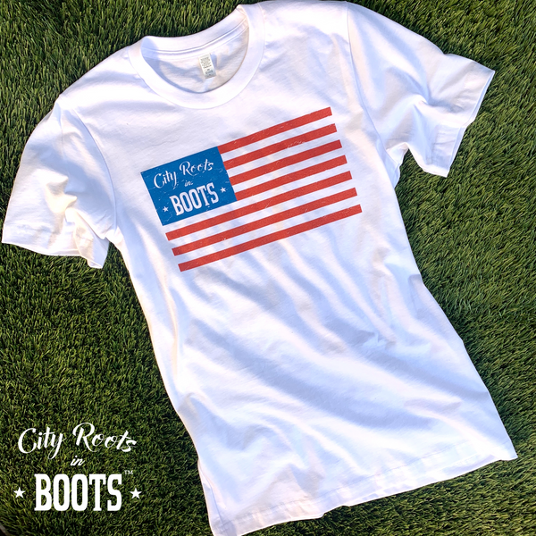 City Roots in Boots American Flag Tee