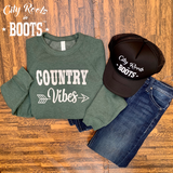 Country Vibes Crew Neck Sponge Fleece Sweatshirt