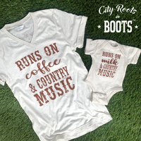 Runs on Milk & Country Music Unisex Onesie