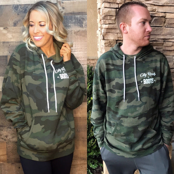 City Roots in Boots Unisex Camo Hoodie