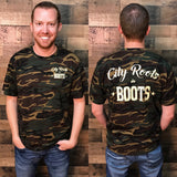 City Roots in Boots Logo Camo Tee