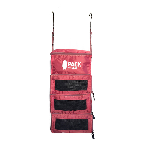 Backpack and Carry-On Organizer With Zipper Closures (Red)