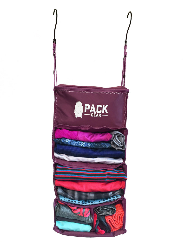 """The Carry-On Traveler"" - PACK Gear Backpack Organizer With Zippers (Purple) - PACK Gear  - 2"