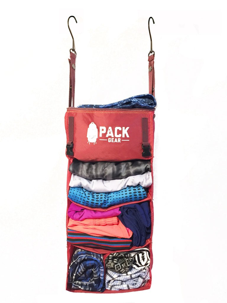 """The Grab and Go"" - PACK Gear Backpack Organizer With Clips (Red) - PACK Gear  - 2"