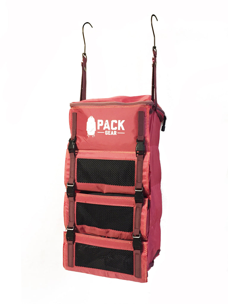 """The Grab and Go"" - PACK Gear Backpack Organizer With Clips (Red) - PACK Gear  - 5"