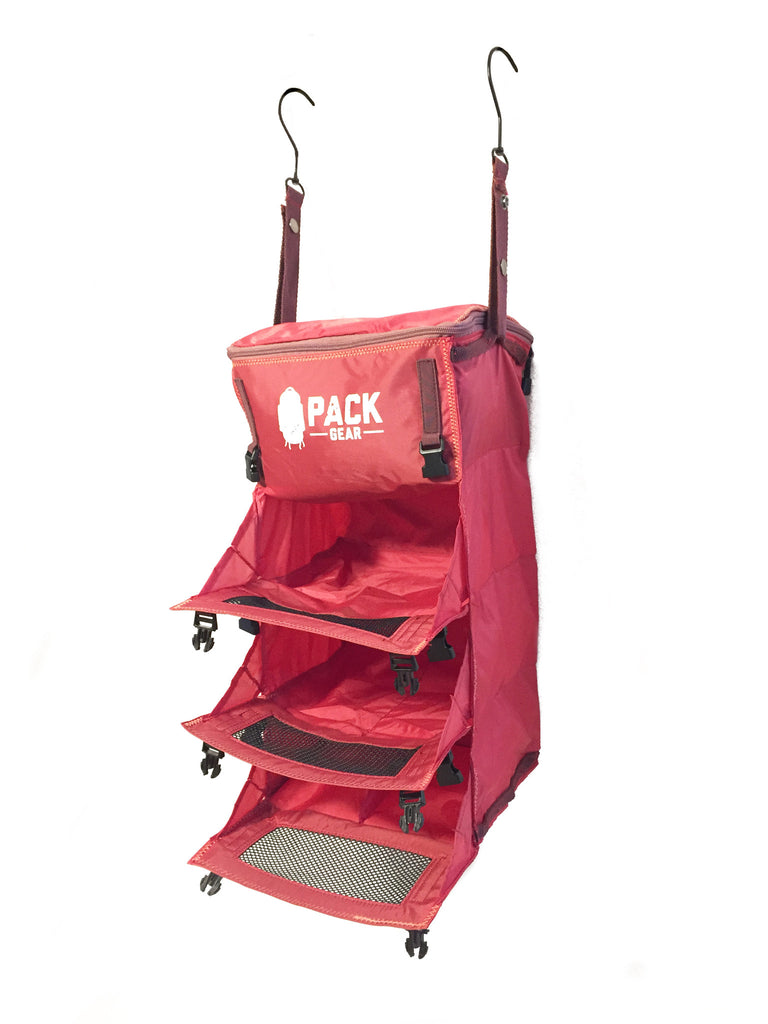 """The Grab and Go"" - PACK Gear Backpack Organizer With Clips (Red) - PACK Gear  - 6"