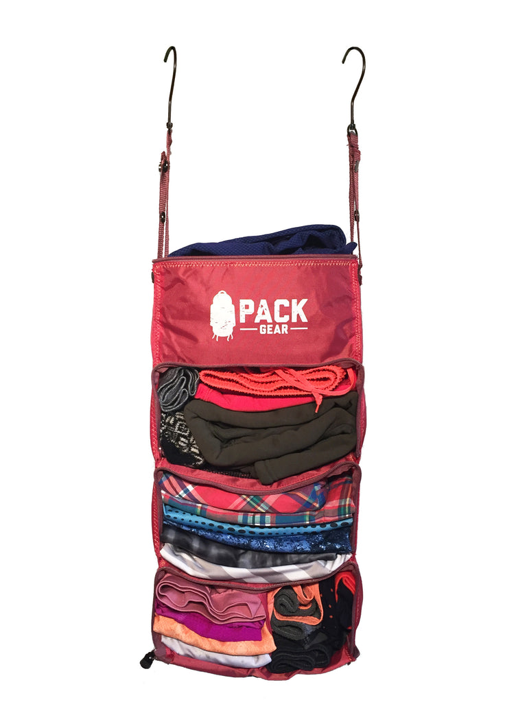"""The Carry-On Traveler"" - PACK Gear Backpack Organizer With Zippers (Red) - PACK Gear  - 2"