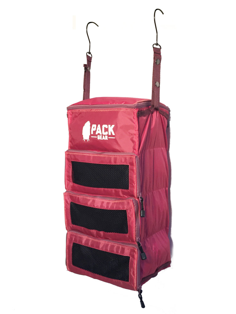 """The Carry-On Traveler"" - PACK Gear Backpack Organizer With Zippers (Red) - PACK Gear  - 6"