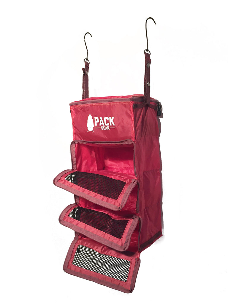 """The Carry-On Traveler"" - PACK Gear Backpack Organizer With Zippers (Red) - PACK Gear  - 3"