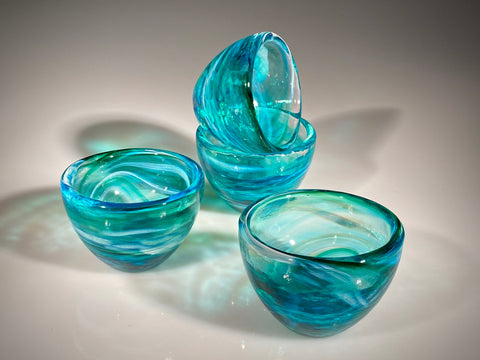 Set of Four Blue/Amethyst Mini Bowls