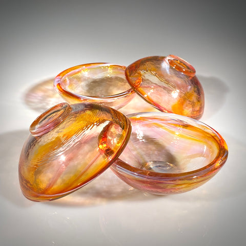 Set of Four Ruby/Amber Mini Bowls