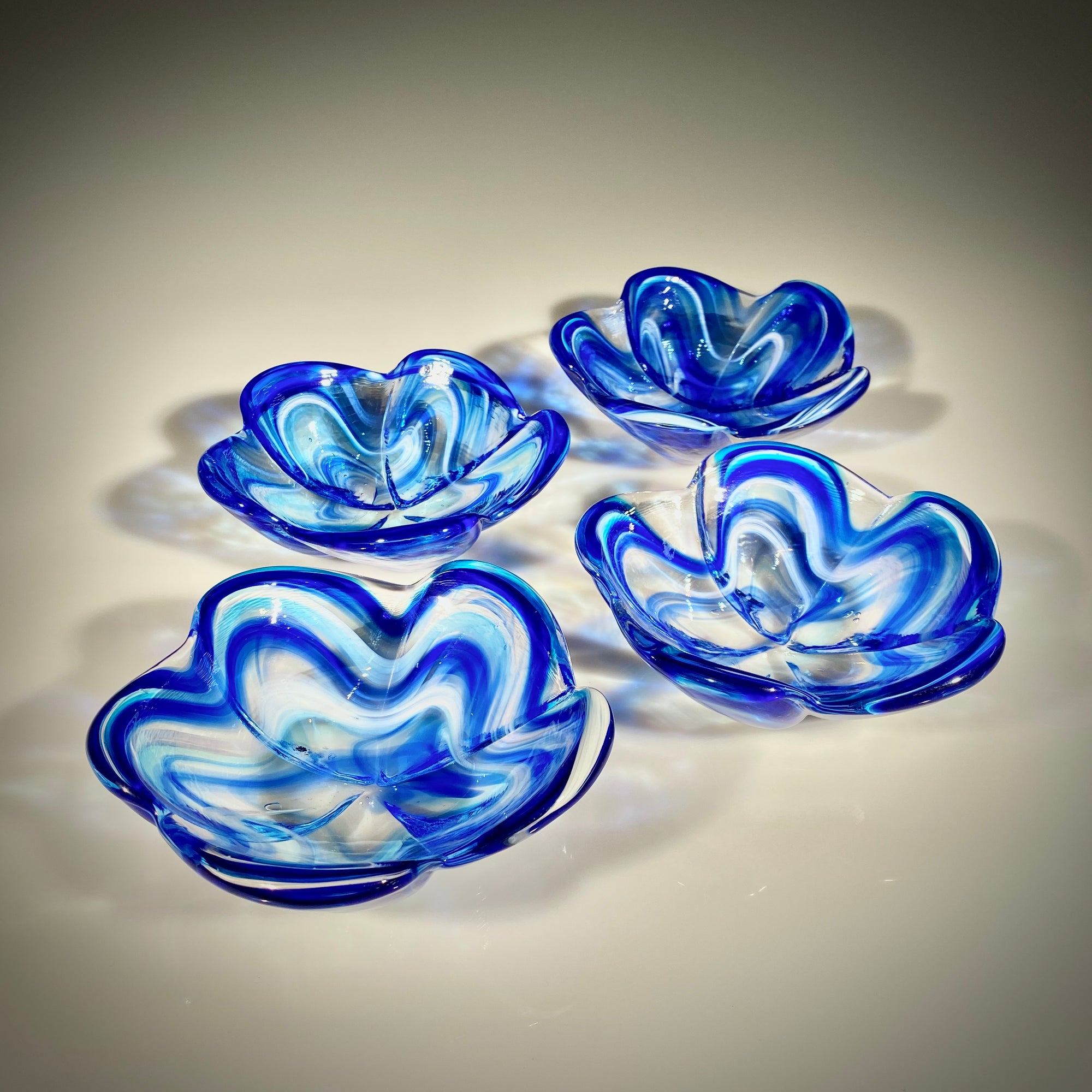 Set of Four Cobalt/Aqua Large Plumeria Bowls