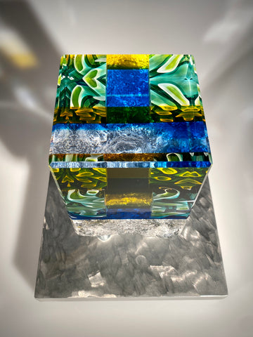 Blue Honeycomb stand up sculpture