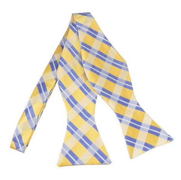 Blue on yellow plaid self tie