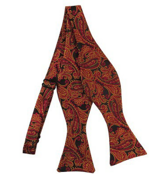 Merlot And Gold Paisley Self Tie