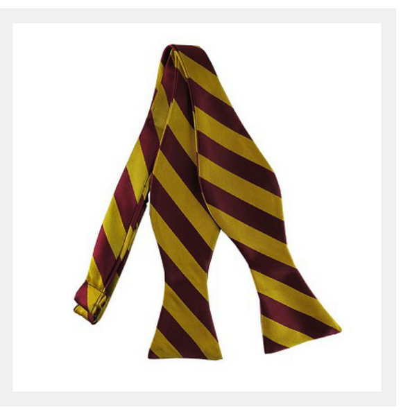 gold and burgundy varsity stripe self tie bow tie