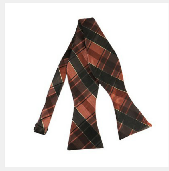 Brown and rust tartan plaid self tie bow tie