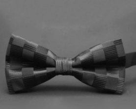 black on black checkered pre-tied bow tie