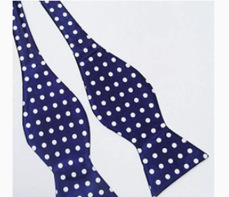 Navy polka dot self tie