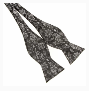 Grey on Black butterfly paisley self tie
