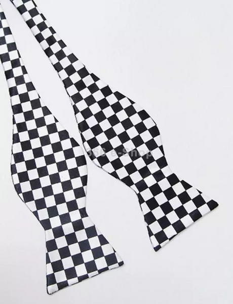 Black and white Checkered Self Tie