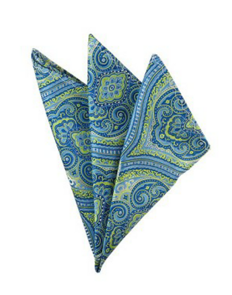 Blue and Line Green Paisley Pocket Square
