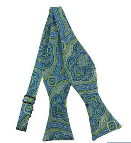 Lime Green Light Blue Paisley Self Tie
