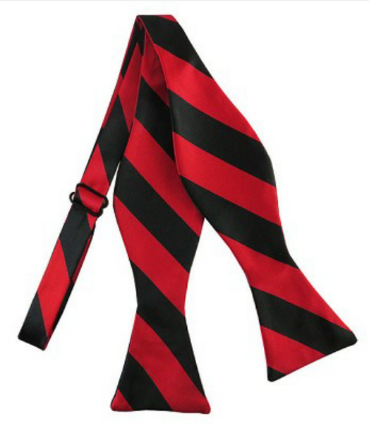 Black And Red Varsity Stripe Self Tie