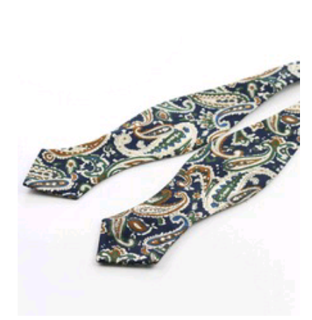 Brown On Navy Paisley Point Bow Tie