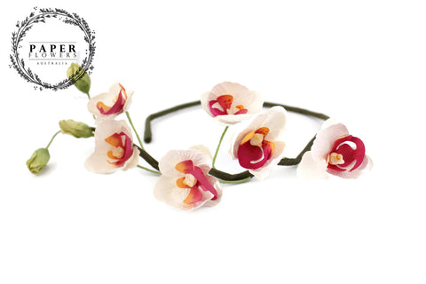 Paper Orchid Crown- White and pink