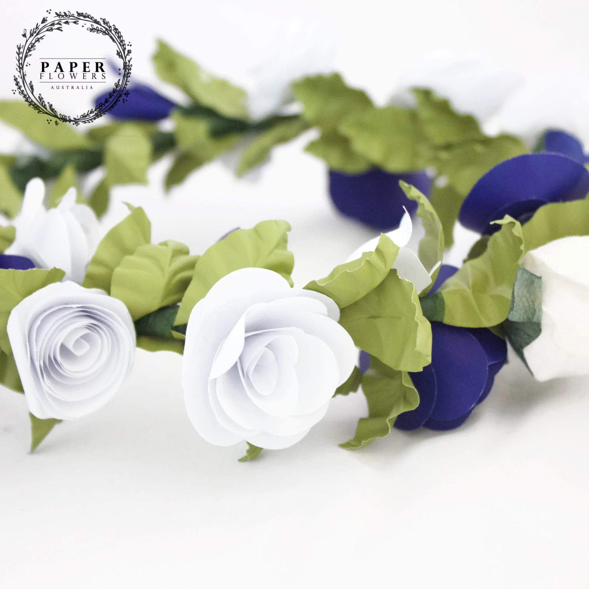Childs flower crown blue and white paper flowers australia childs flower crown blue and white izmirmasajfo