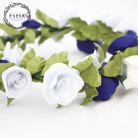 Childs Flower Crown- Blue and white
