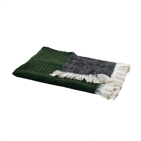 MOHAIR THROW | Grey + Green