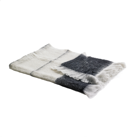 MOHAIR THROW | Black + Pearl