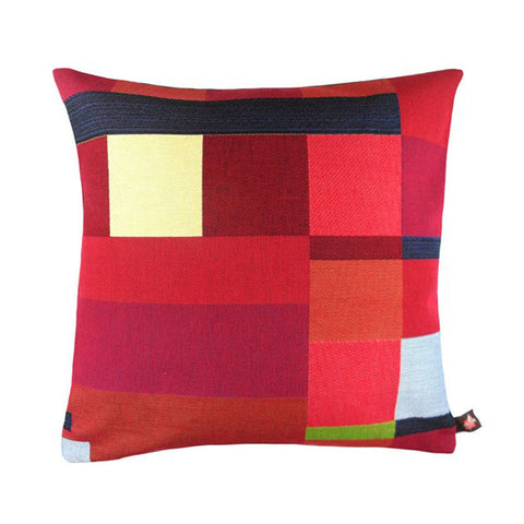 GEOMETRIC Pillow | Red with Black Stripe