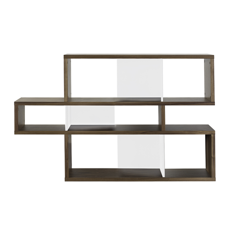 LONDON COMPOSITION Low Bookcase | Walnut + White