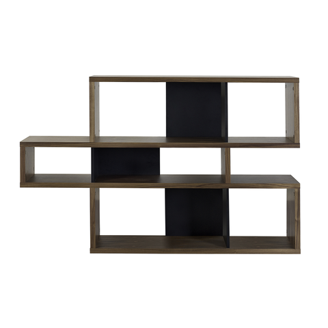 LONDON COMPOSITION Low Bookcase | Walnut + Black