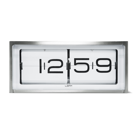 BRICK Flip Clock | Steel + White