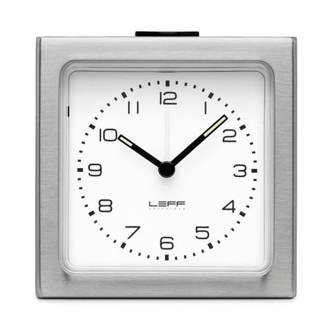 BLOCK Alarm Clock | Steel Case + White Arabic
