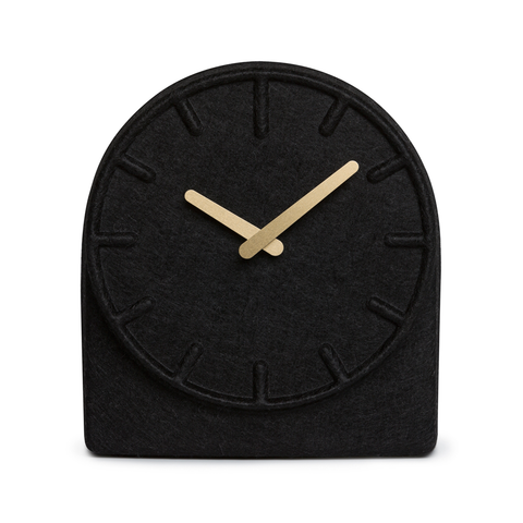 FELT TWO Table Clock | Black with Brass Hands