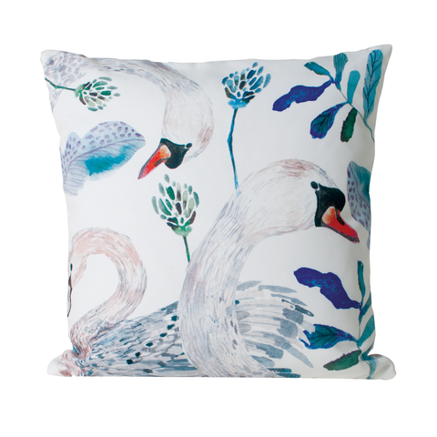 DANCING SWAN Throw Pillow | White