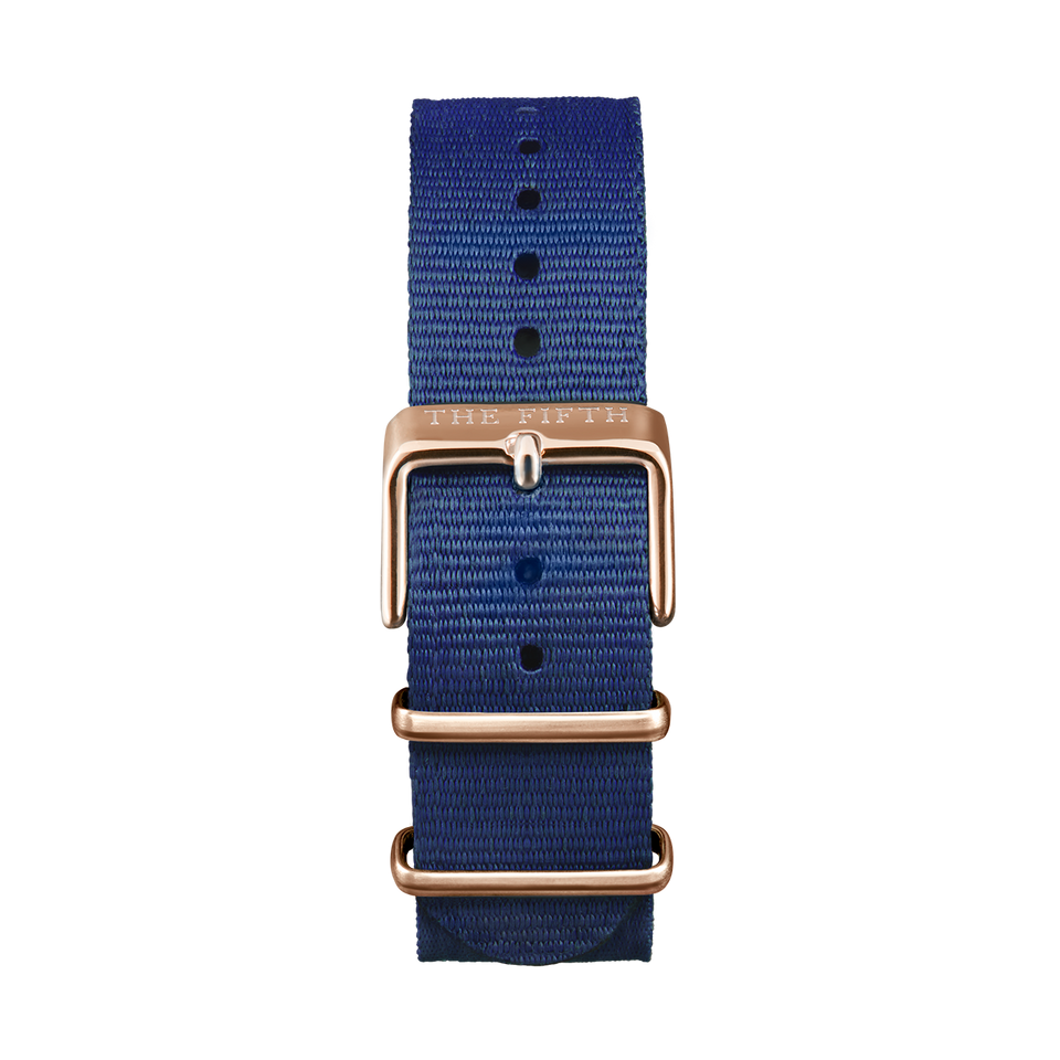 Nato Strap Navy & Rose Gold - Womens