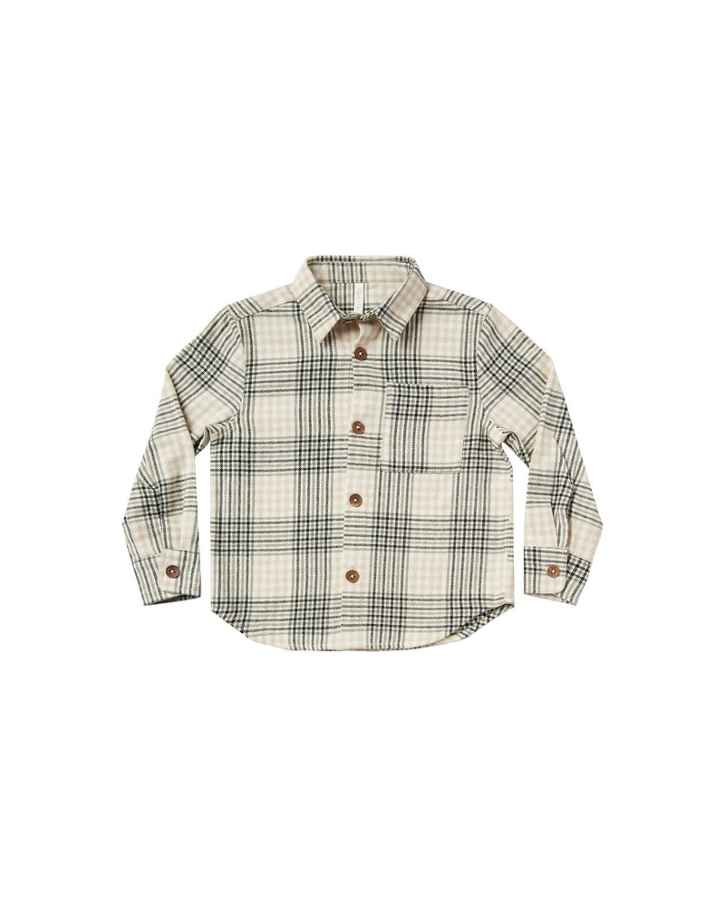 """Boys collared button-down shirt in a soft brushed flannel.  Color: forel flannel  Care: Machine wash cold. Tumble Dry low. Minor shrinkage may occur if tumble dried.  Made of 100% cotton"""