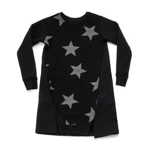 NUNUNU Black Star A-Line Dress