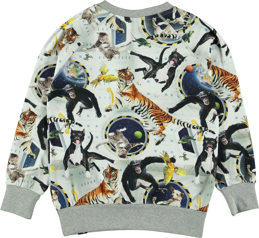 Molo No Gravity print Romeo long sleeve top with an all over print of tigers, monkeys and dogs floating in space. A cool shirt for the astronaut to be.  Made of certified organic cotton.