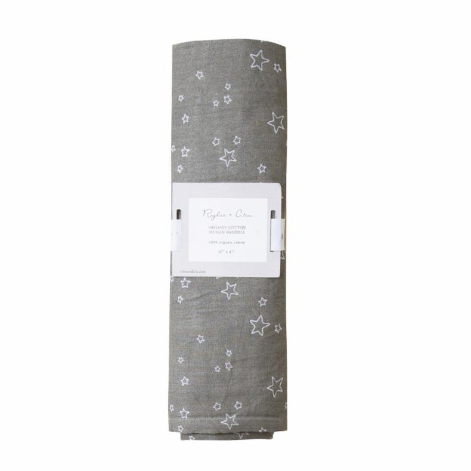 Rylee and Cru swaddle is made from organic cotton. The grey color with with an all over star print makes it a great gender neutral gift for an expectant mom.  A stylish swaddle that mom can use as a coverup during breast feeding. This swaddle can also be used as a tapestry for baby's nursery. The gender neutral colors makes this a unique baby shower gift.